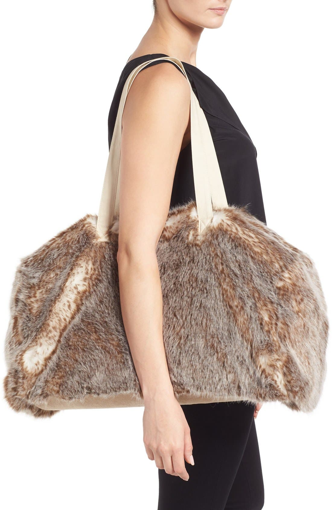 Alternate Image 2  - Nordstrom at Home Cuddle Up Faux Fur Duffel Bag