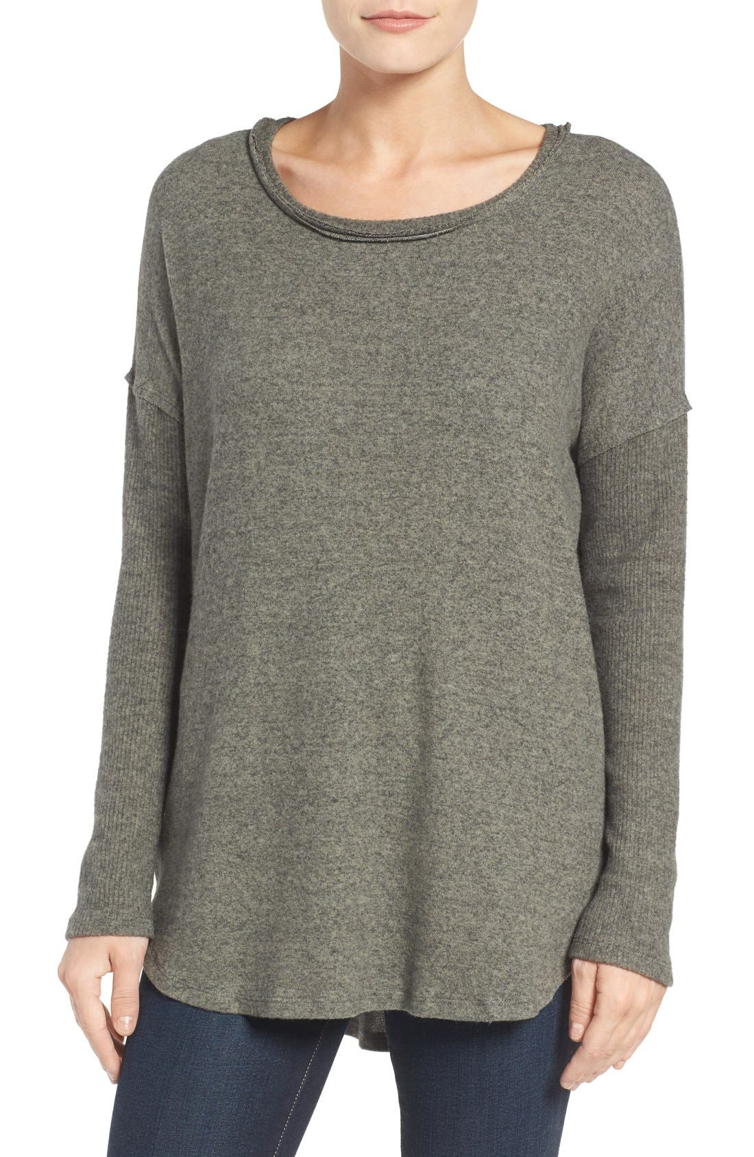Bobeau Rib Long Sleeve Fuzzy Sweatshirt (Regular & Petite)
