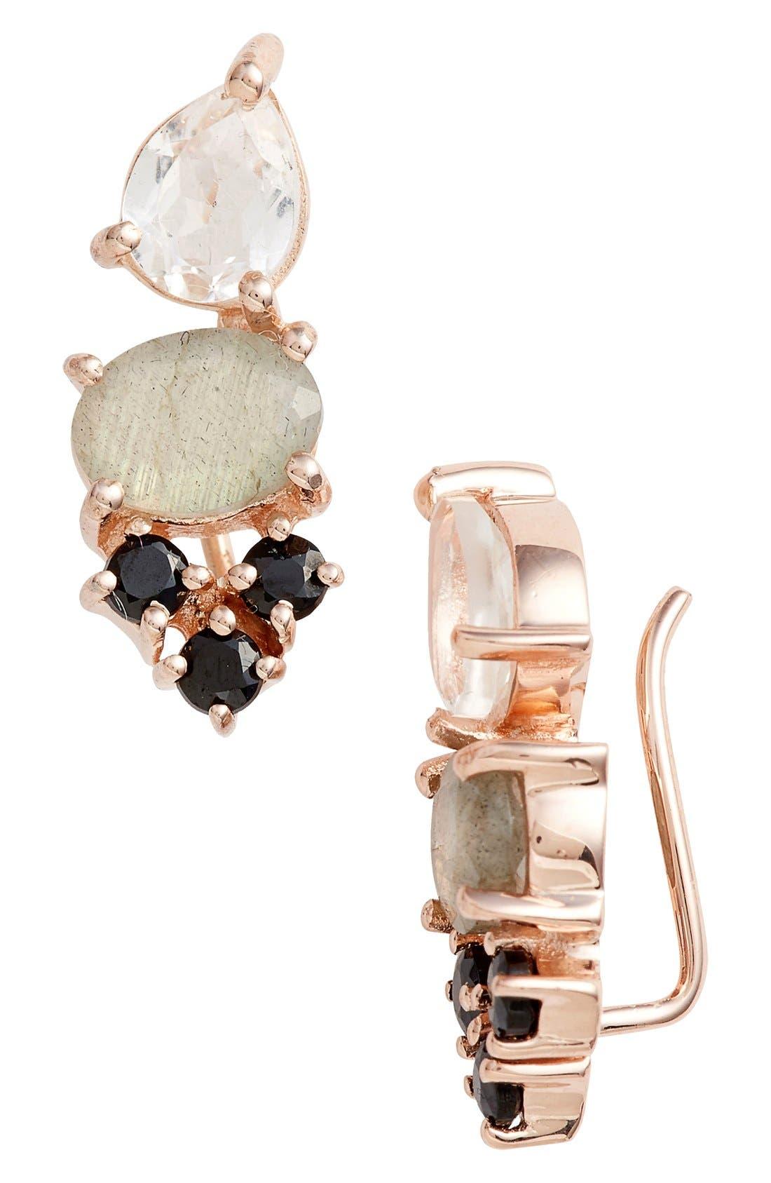 Semiprecious Stone Ear Crawlers,                         Main,                         color, Black / Labradorite