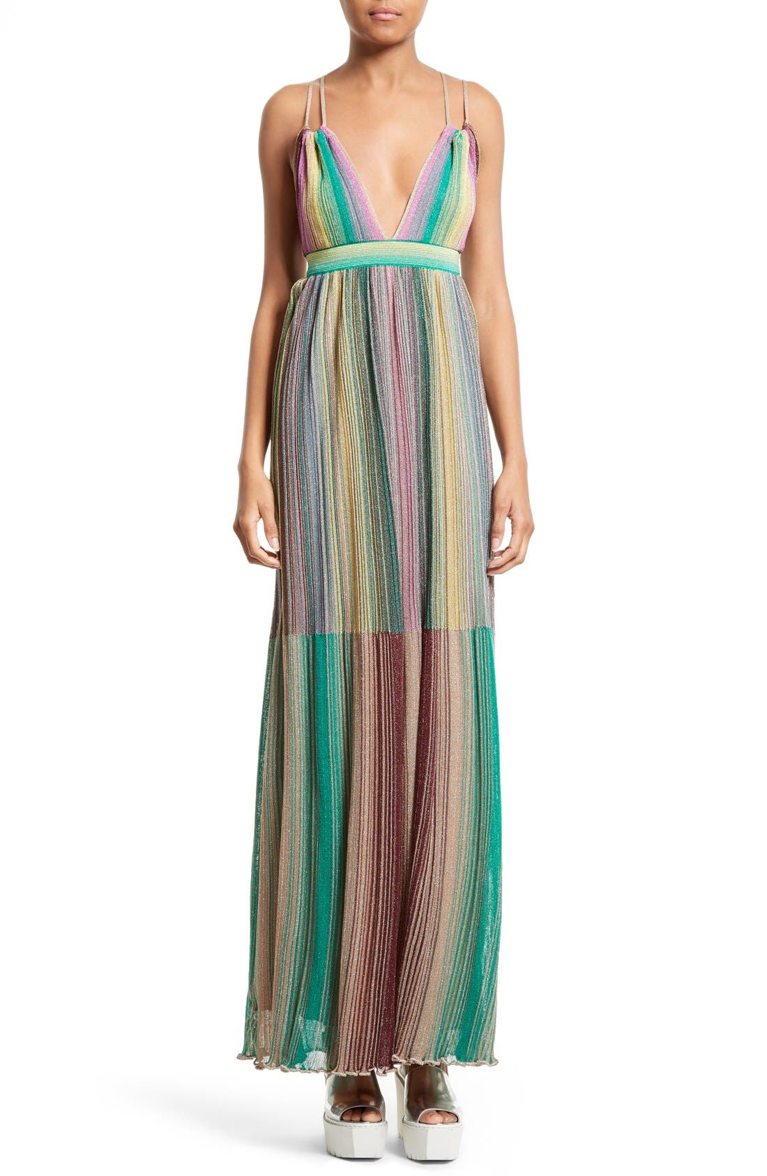 Alternate Image 1 Selected - M Missoni Plissé Multicolor Maxi Dress