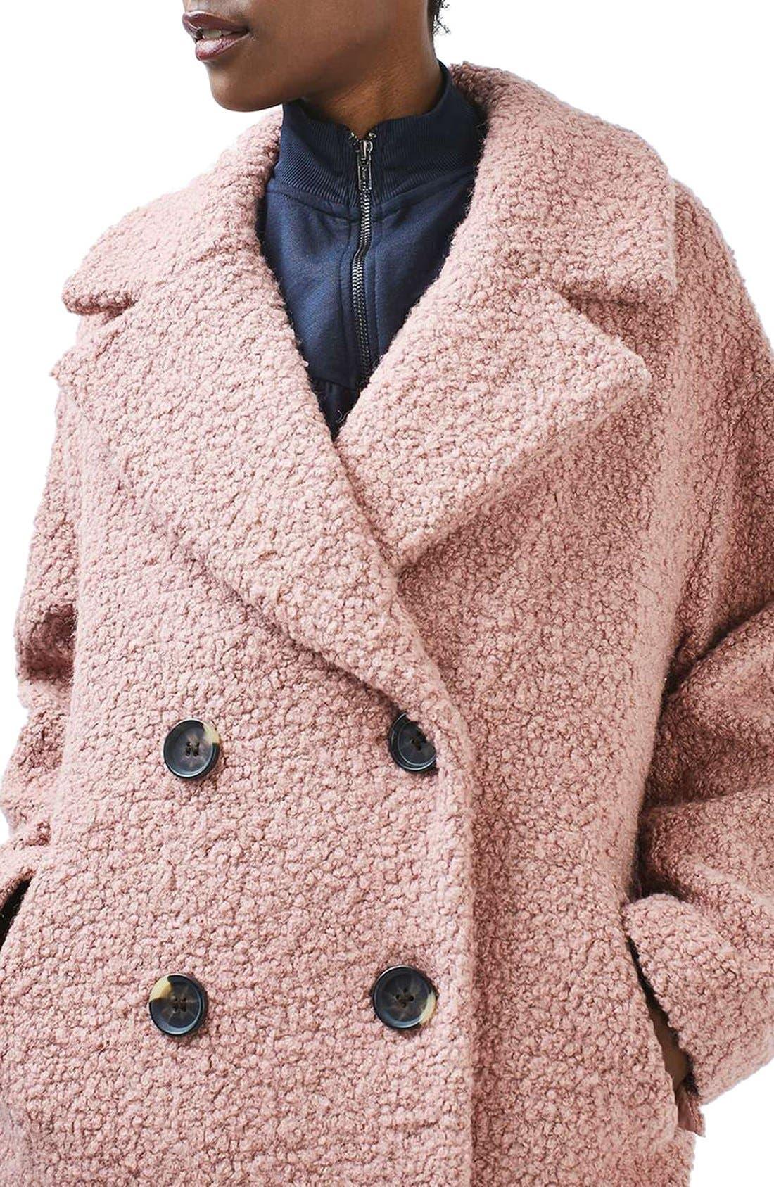 Alicia Bouclé Coat,                             Alternate thumbnail 5, color,                             Pink