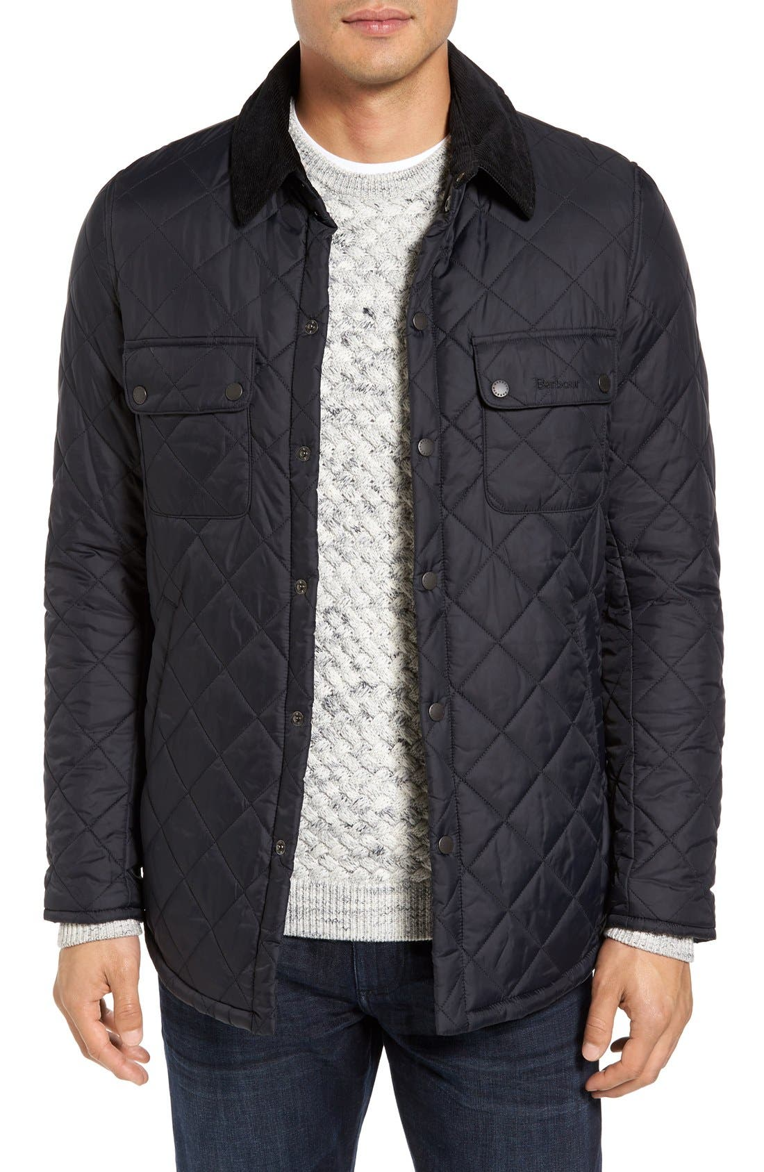 'Akenside' Regular Fit Quilted Jacket,                             Main thumbnail 1, color,                             Black