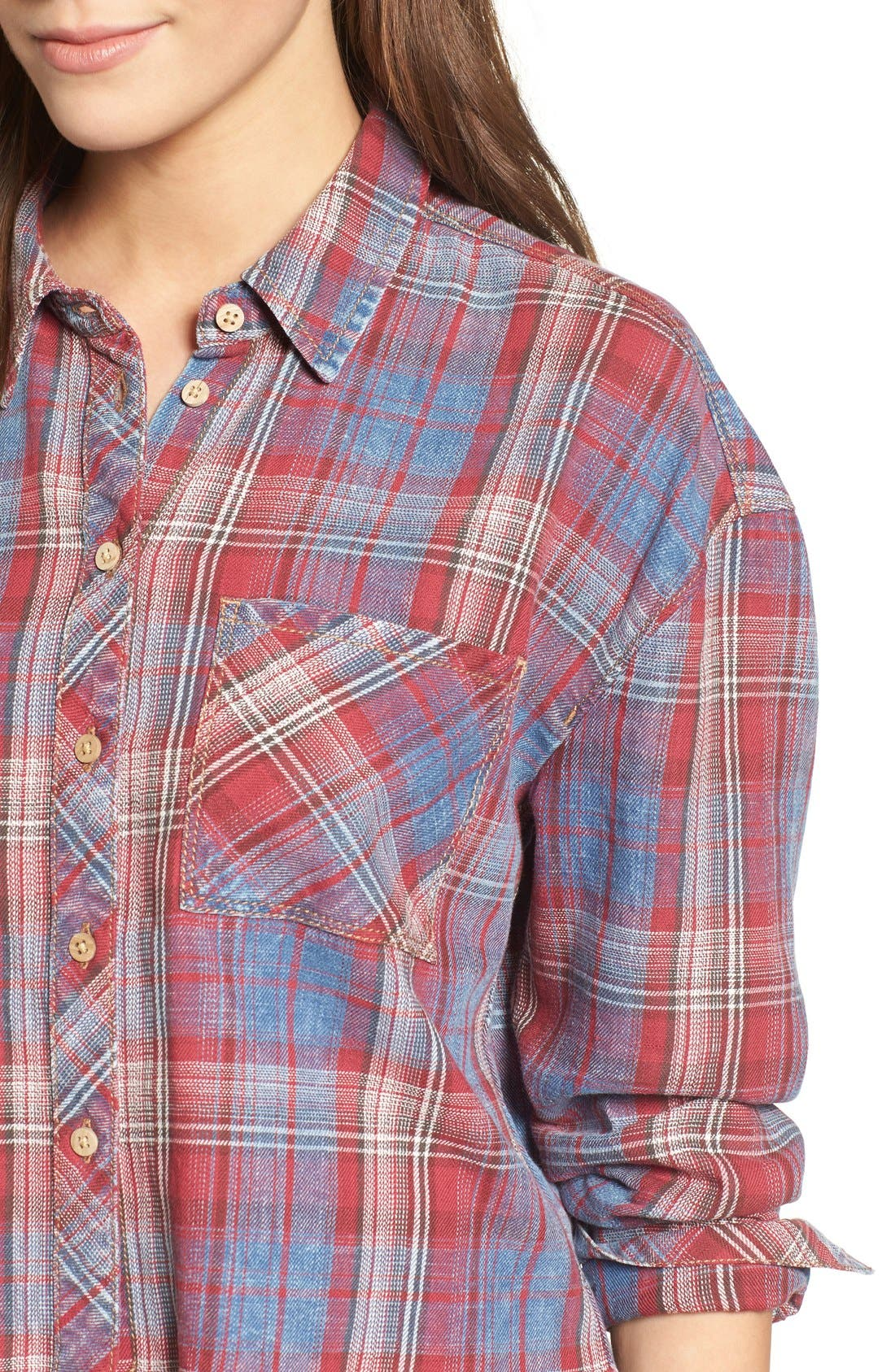 Frayed Plaid Shirt,                             Alternate thumbnail 4, color,                             Red/ Blue