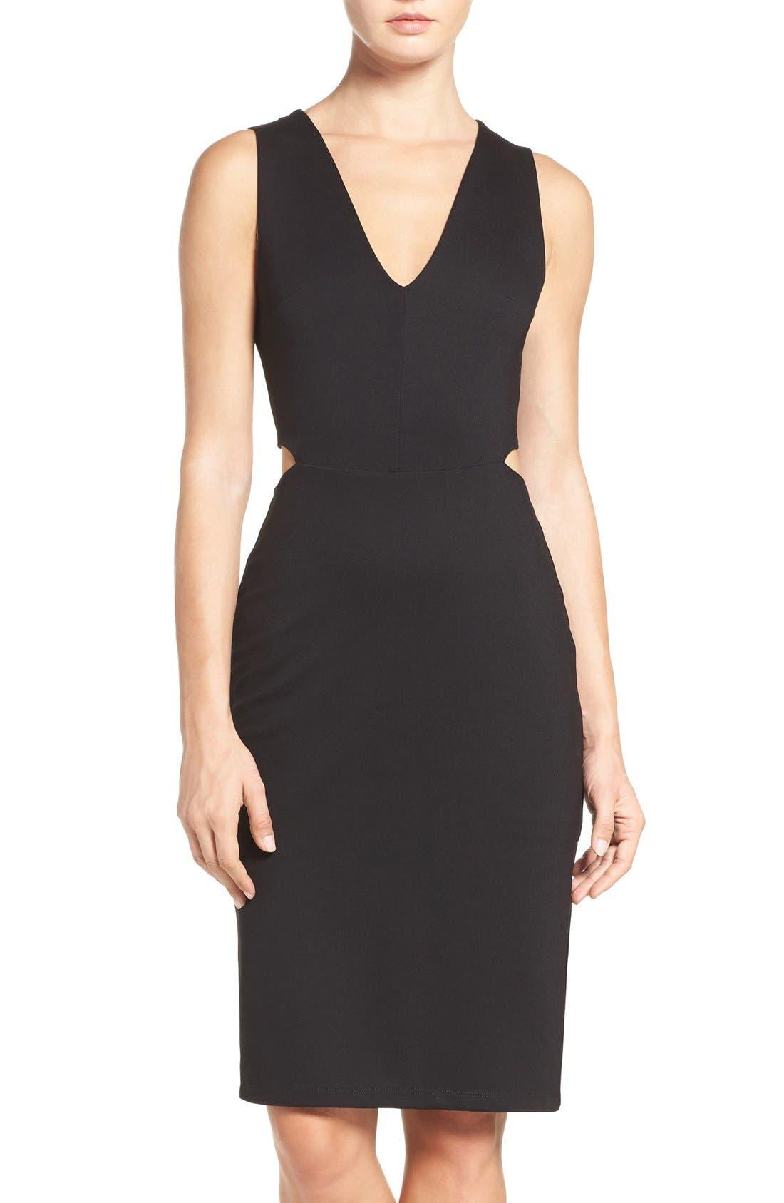 Ponte Cutout Sheath Dress,                             Main thumbnail 1, color,                             Black