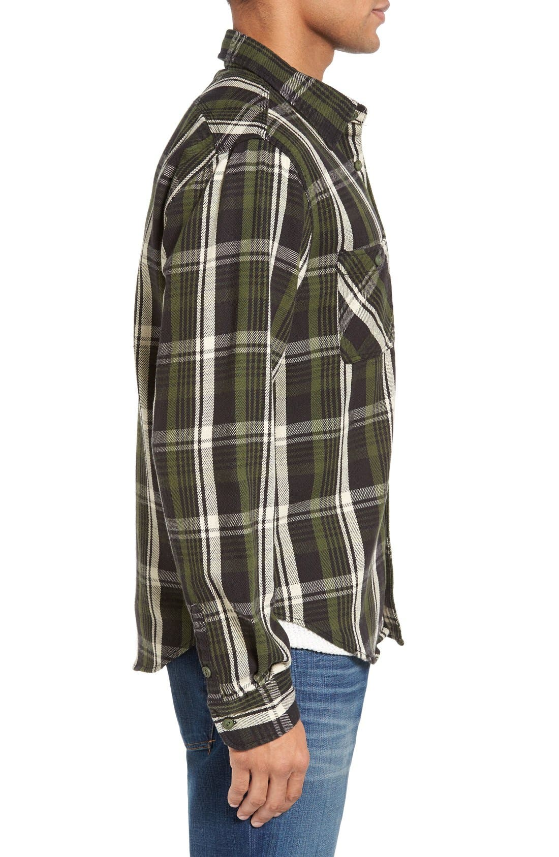 Classic Fit Plaid Flannel Shirt,                             Alternate thumbnail 3, color,                             Green