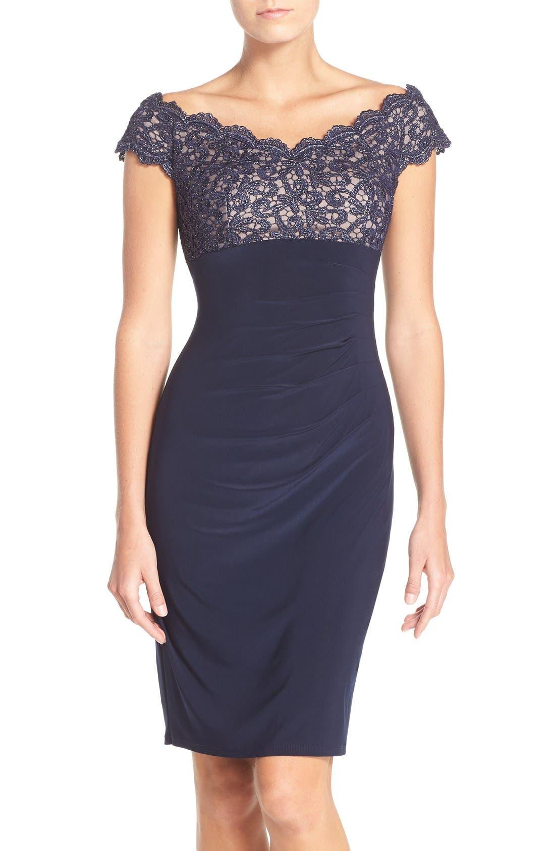 Main Image - Xscape Lace & Jersey Off the Shoulder Sheath Dress (Petite)