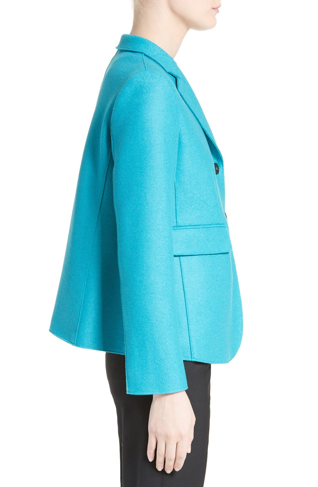 Double Face Wool Jacket,                             Alternate thumbnail 5, color,                             Azure
