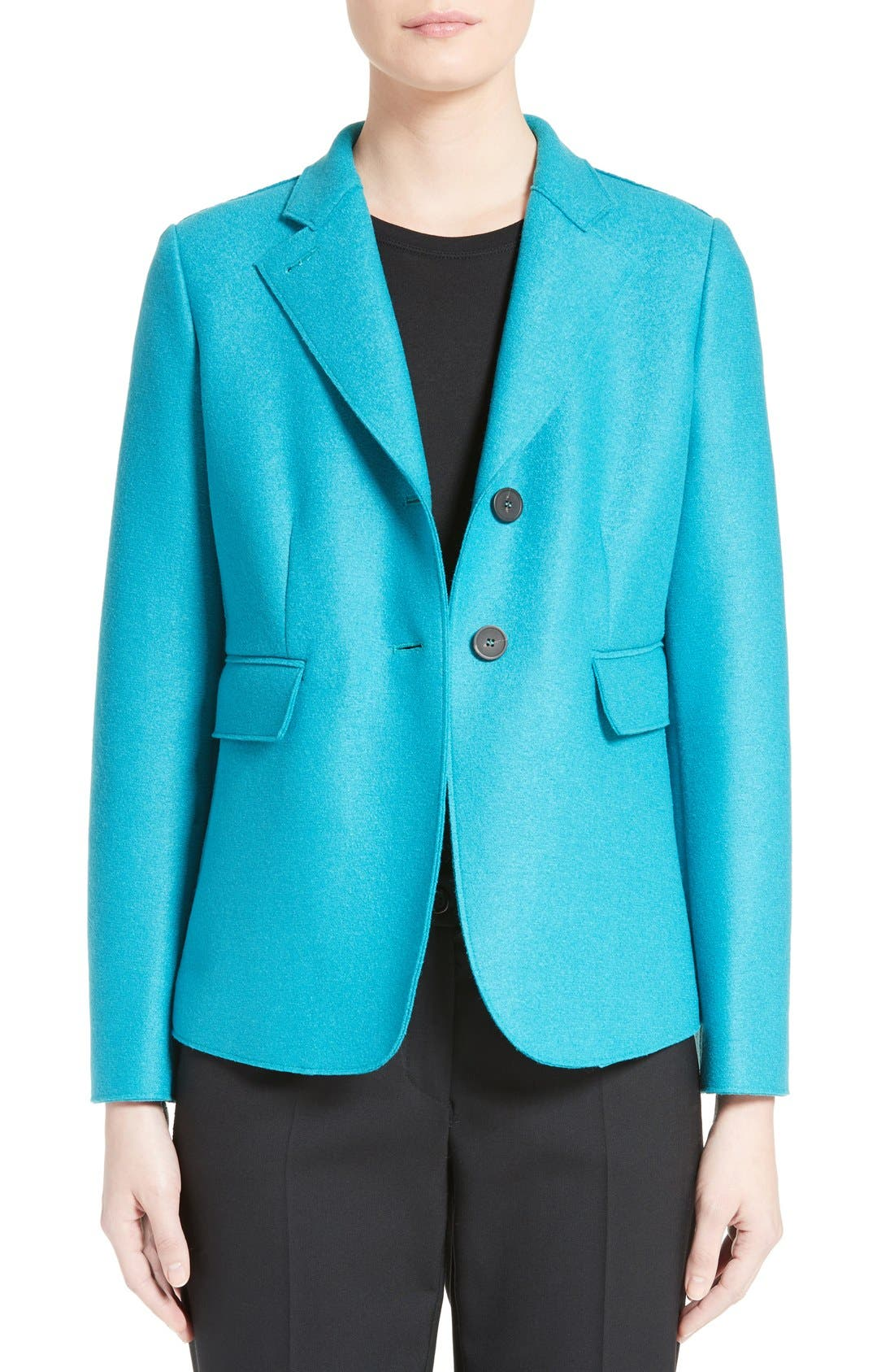 Double Face Wool Jacket,                             Main thumbnail 1, color,                             Azure
