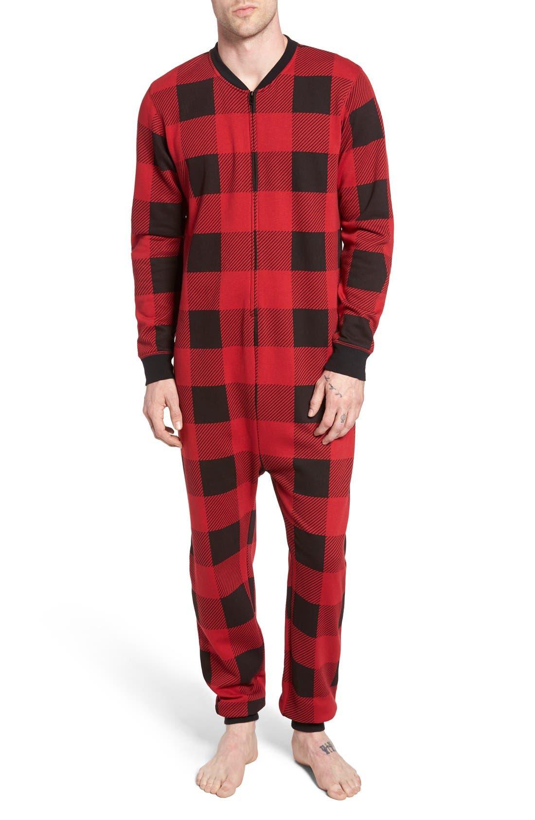 Alternate Image 1 Selected - The Rail Fleece One-Piece Pajamas