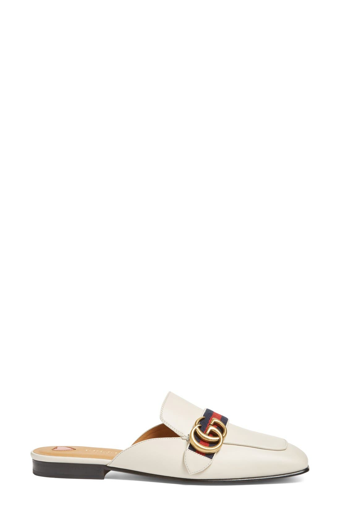 Loafer Mule,                             Alternate thumbnail 4, color,                             White Leather