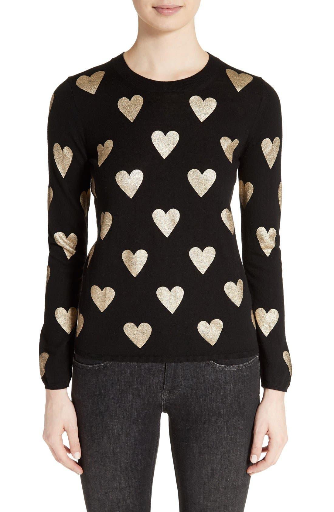 Main Image - Burberry Bilboa Foil Heart Wool Sweater