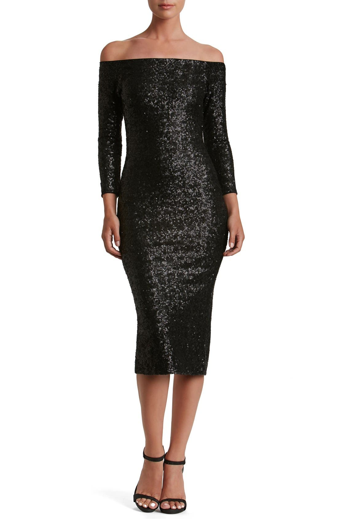 Main Image - Dress the Population Addison Sequin Midi Dress