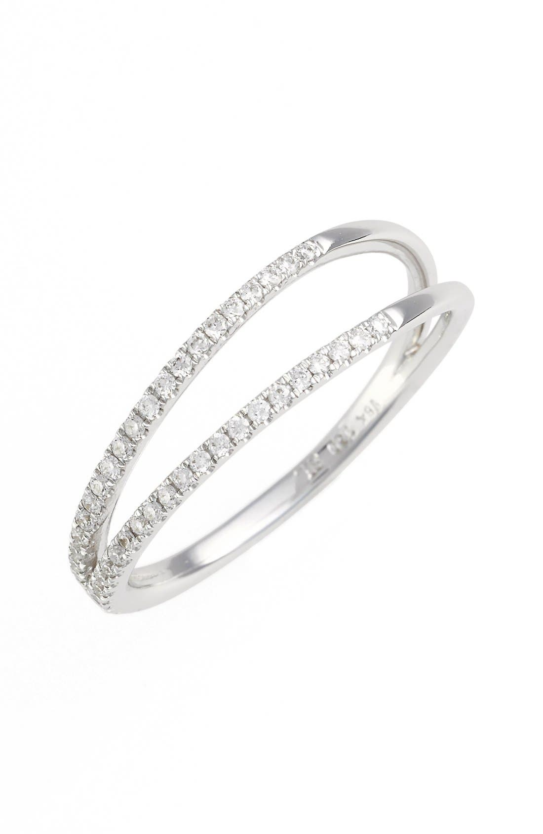 Diamond Two Row Ring,                         Main,                         color, White Gold
