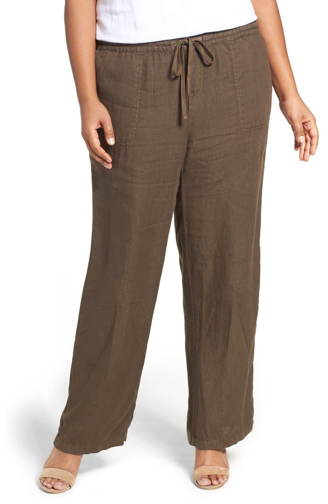 Caslon® Drawstring Linen Pants (Plus Size)