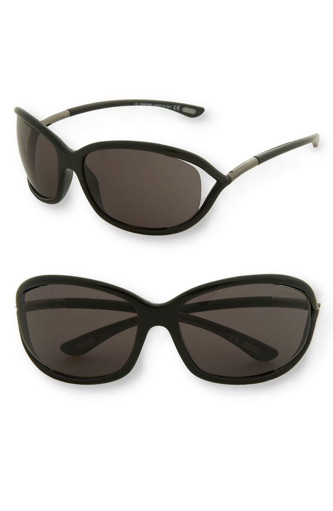 'Jennifer' 61mm Oval Oversize Frame Sunglasses,                         Main,                         color, Black