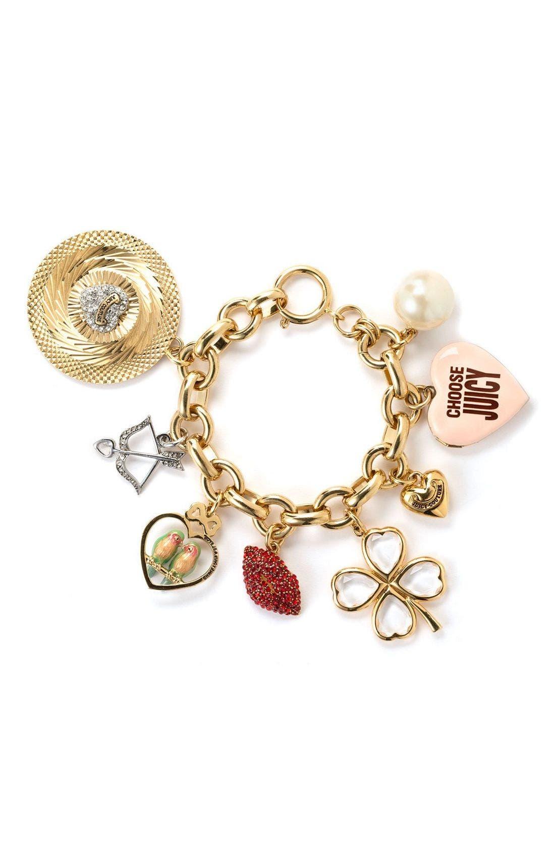Romantic Charm Bracelet,                         Main,                         color, Gold