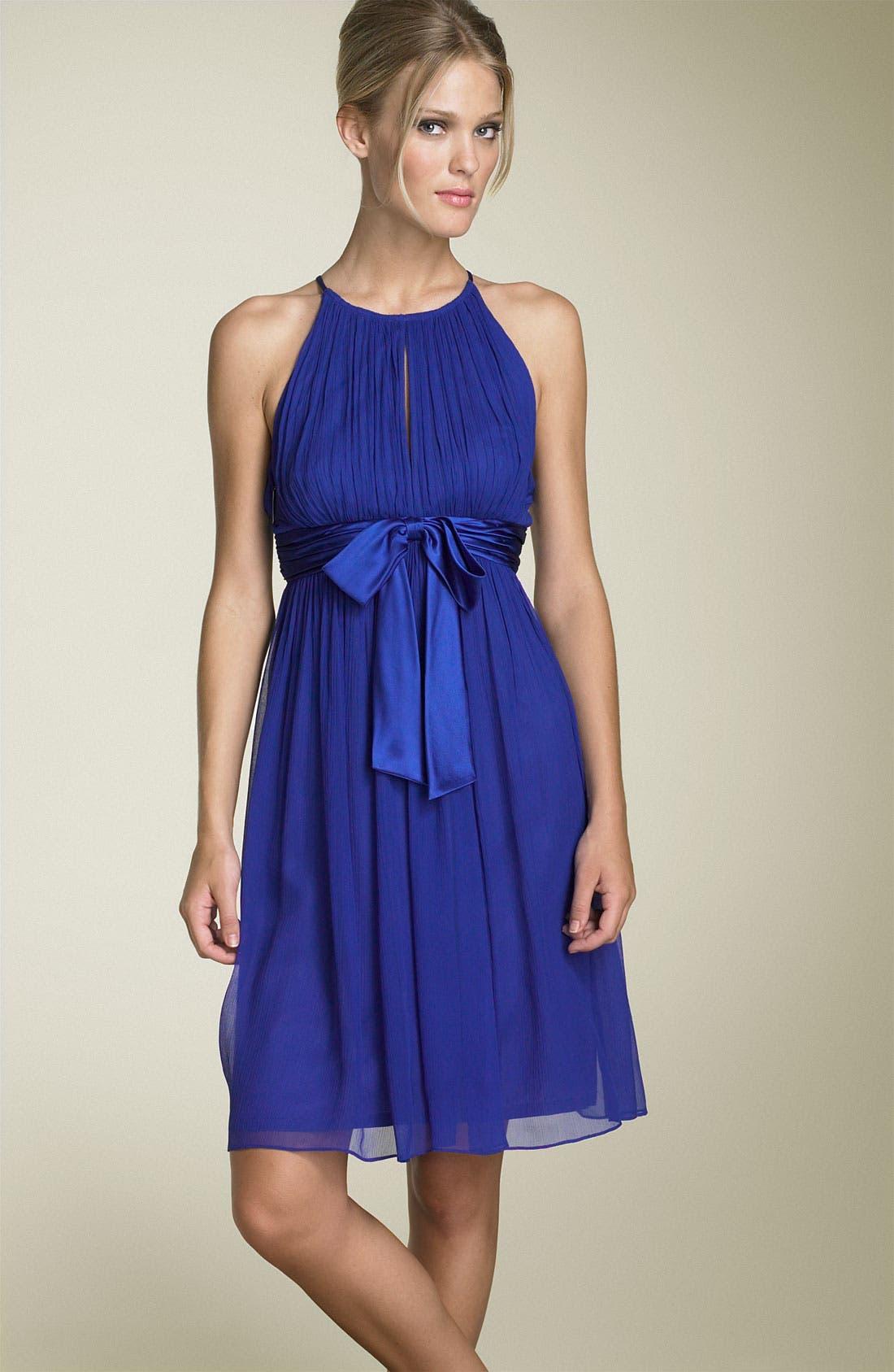 Silk Chiffon Halter Dress,                         Main,                         color, Tile Blue