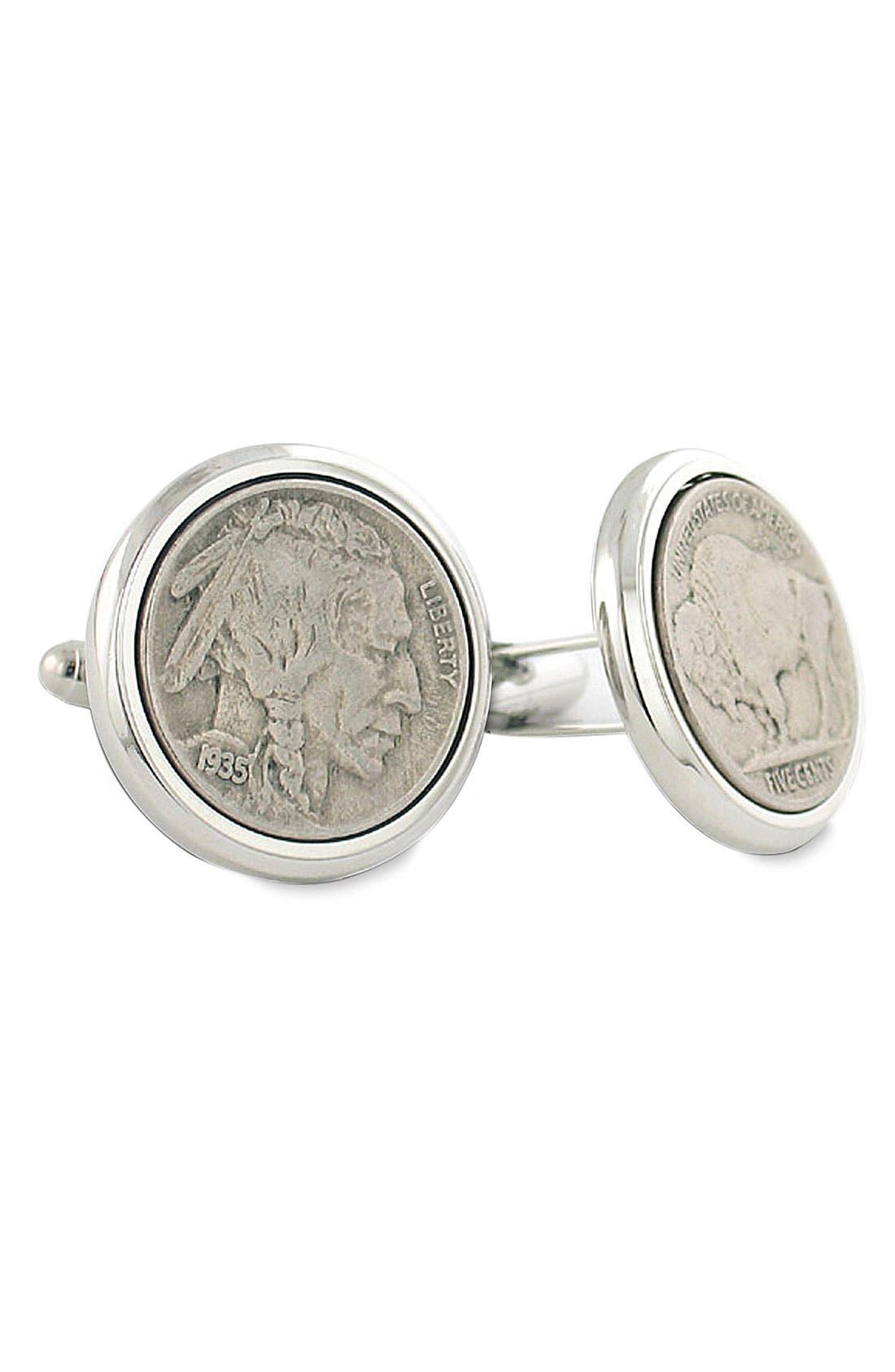Buffalo Nickel Cuff Links,                             Main thumbnail 1, color,                             Silver Nickel