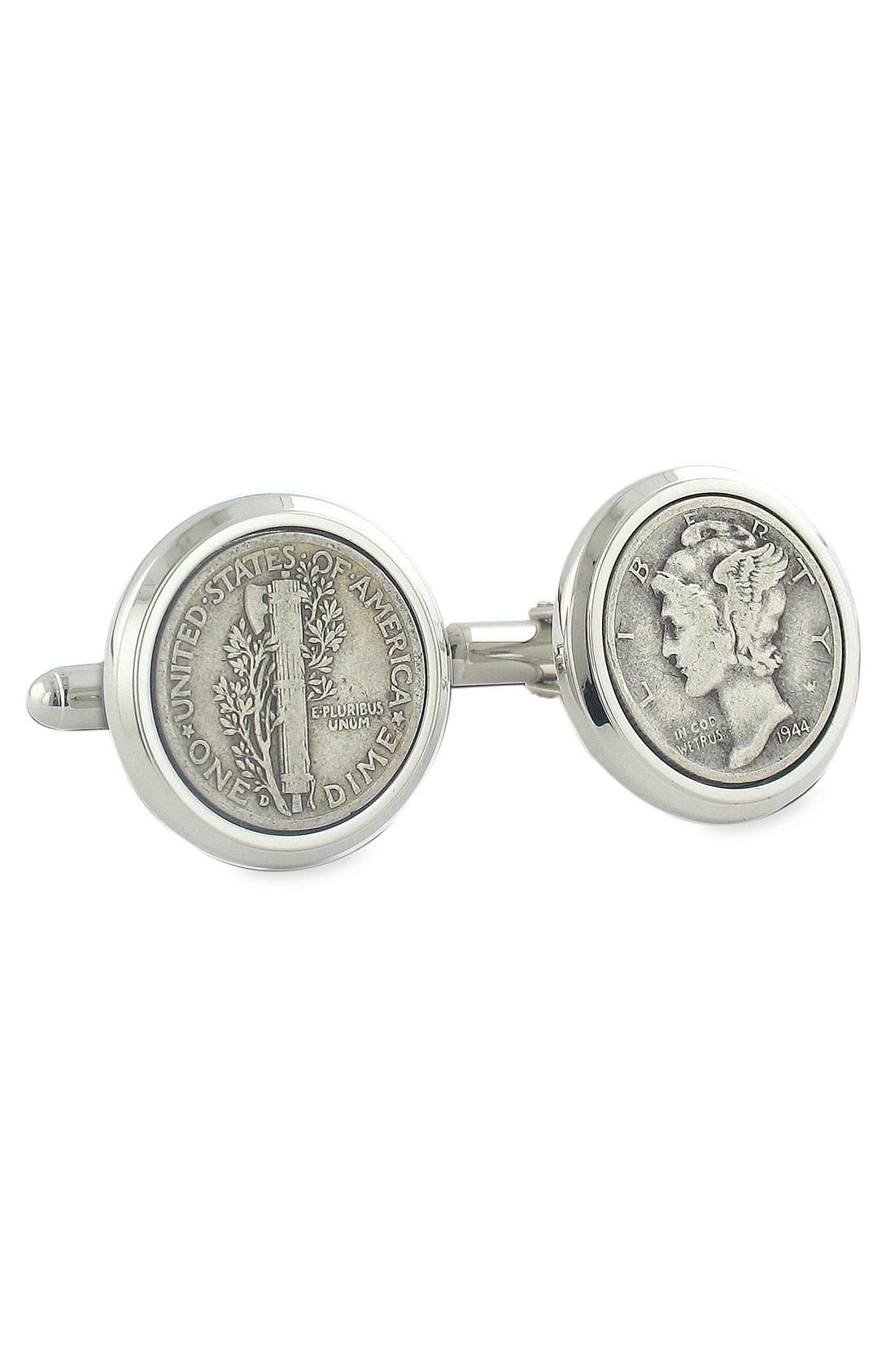 Mercury Dime Cuff Links,                             Main thumbnail 1, color,                             Silver Dime