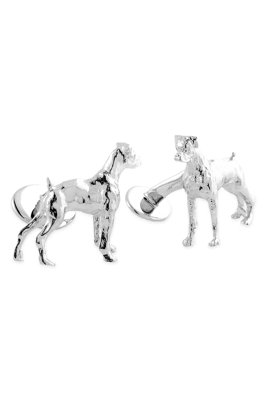 'Boxer' Sterling Silver Cuff Links,                         Main,                         color, Silver Boxer