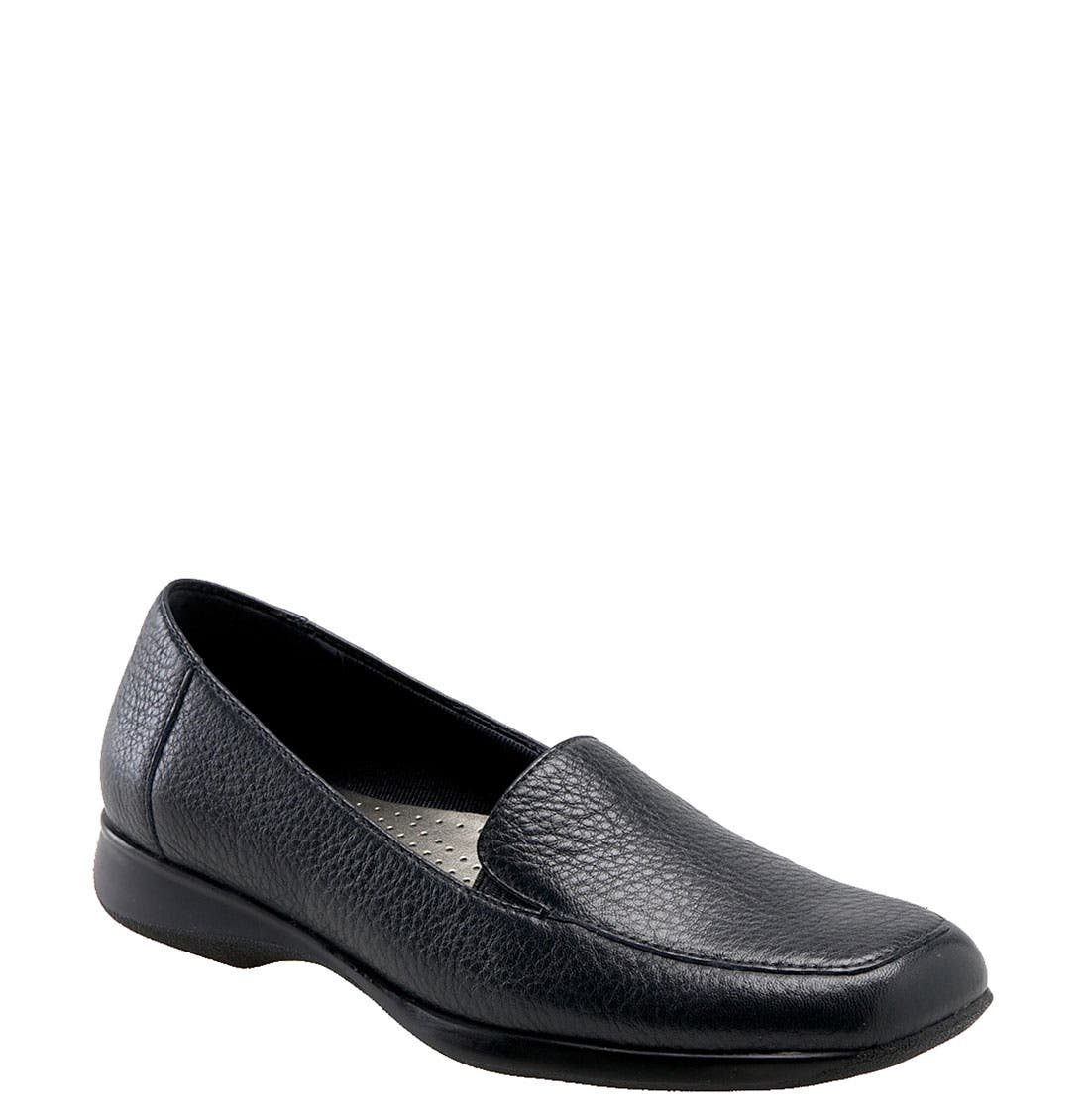 'Jenn' Loafer,                             Main thumbnail 1, color,                             Navy Soft Tumbled Leather