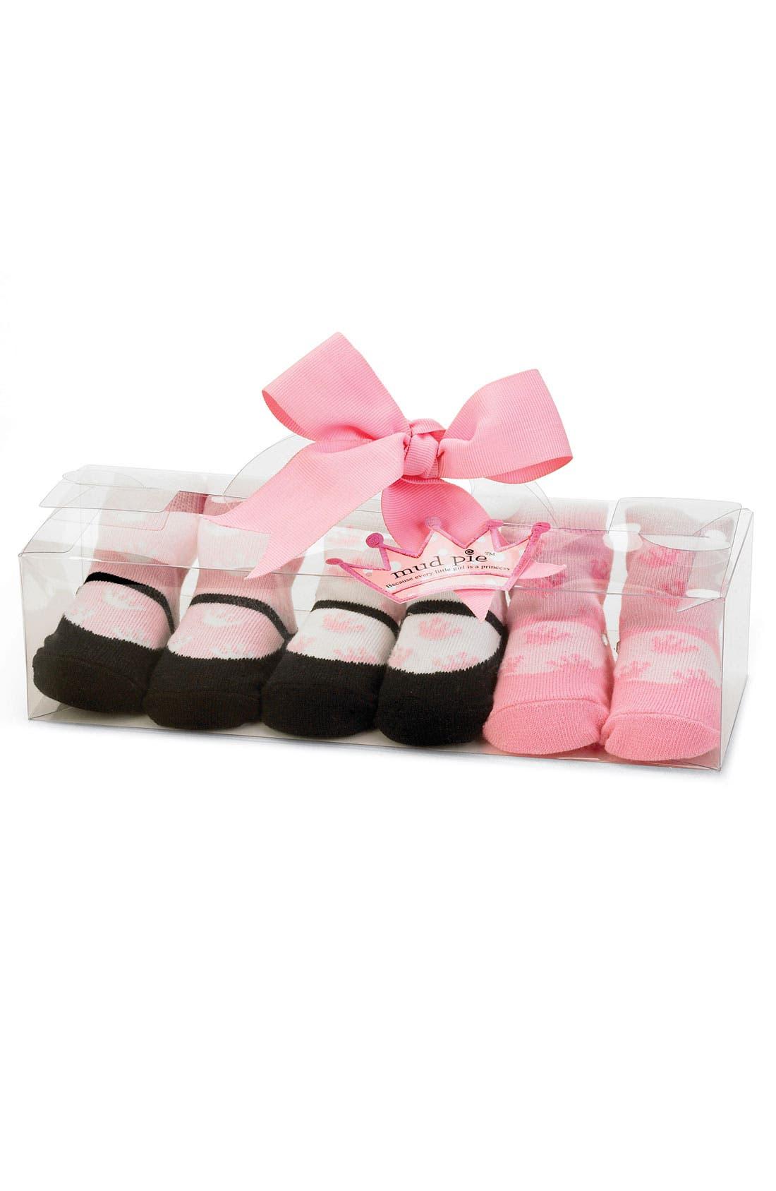 Alternate Image 1 Selected - Mud Pie Socks Set (3-Pack) (Baby Girls)