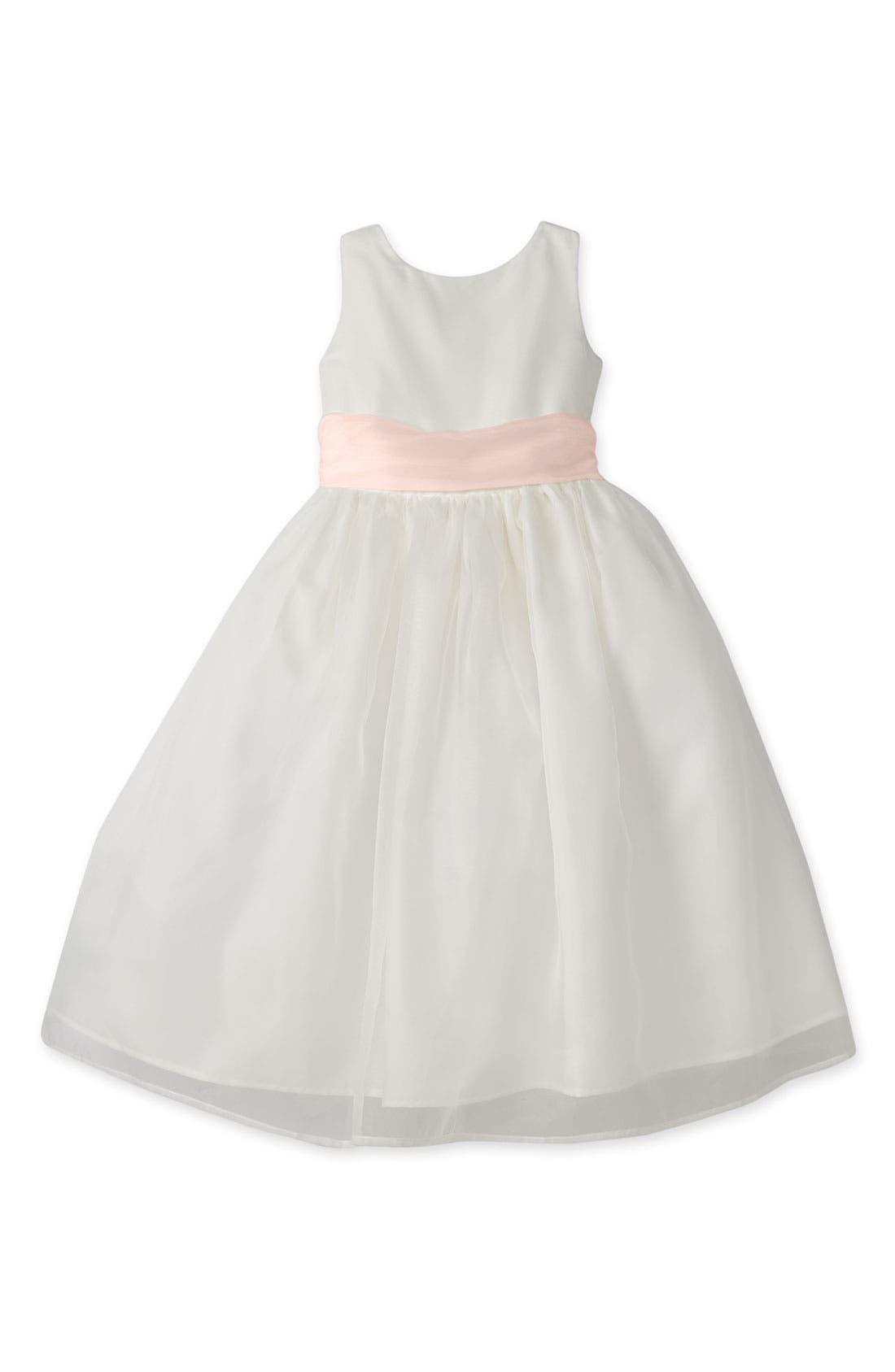 Sleeveless Organza Dress,                         Main,                         color, Blush Pink