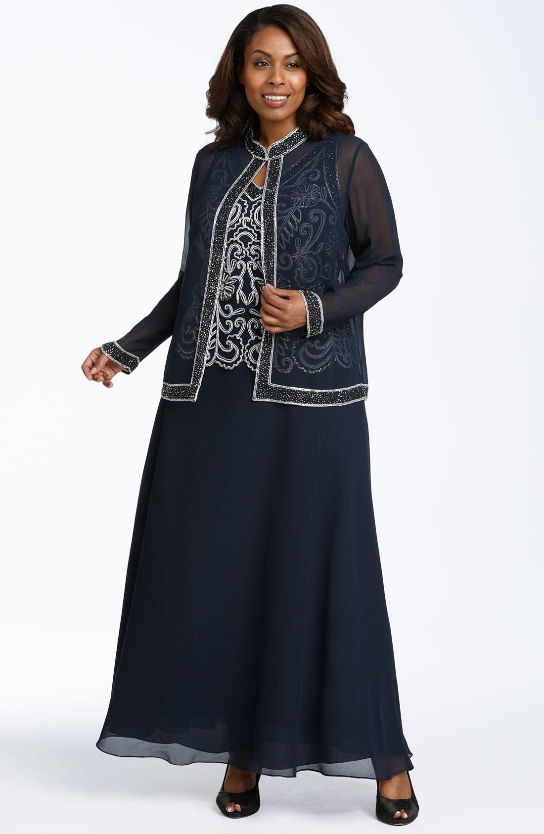 Main Image - J Kara Sheer Beaded Chiffon Gown with Jacket (Plus)