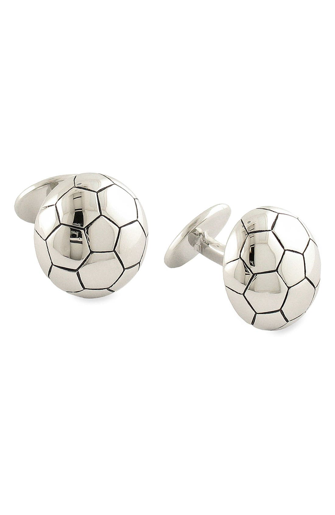 'Soccer' Sterling Silver Cuff Links,                         Main,                         color, Silver Soccer Ball
