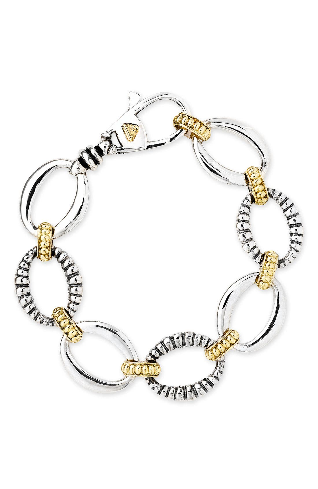 'Link' 2-Tone Bracelet,                             Main thumbnail 1, color,                             Sterling Silver/ Gold