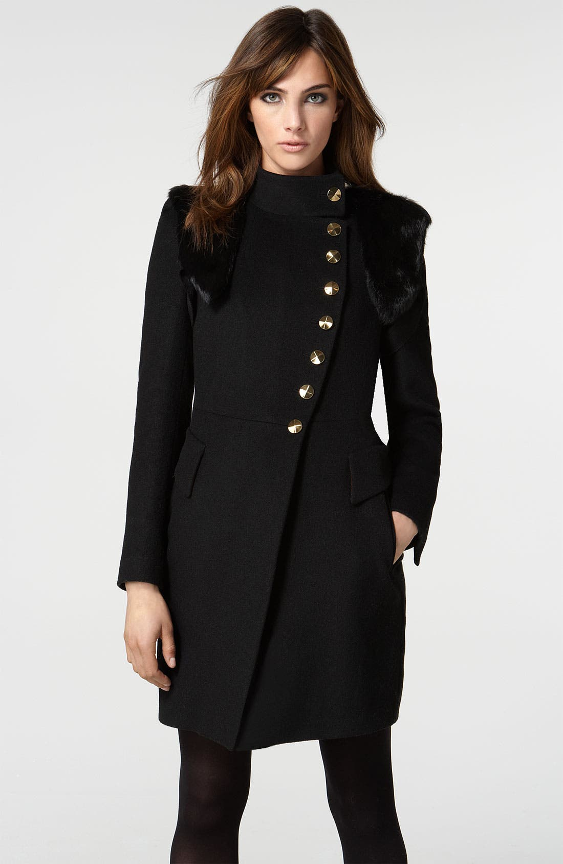 'Nicola' Coat with Removable Genuine Rabbit Fur Vest,                             Main thumbnail 1, color,                              Black