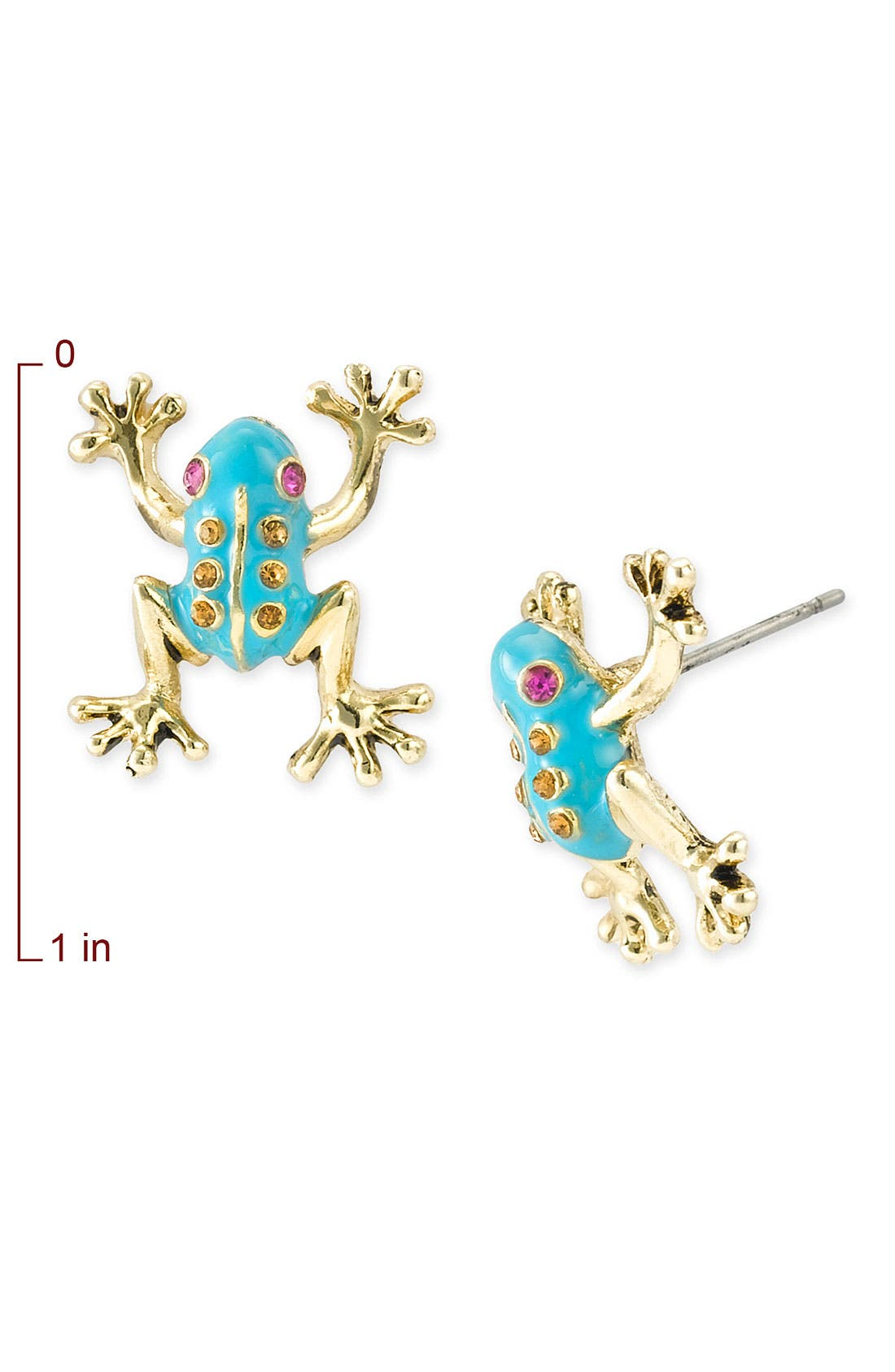 Alternate Image 2  - Betsey Johnson Frog Stud Earrings