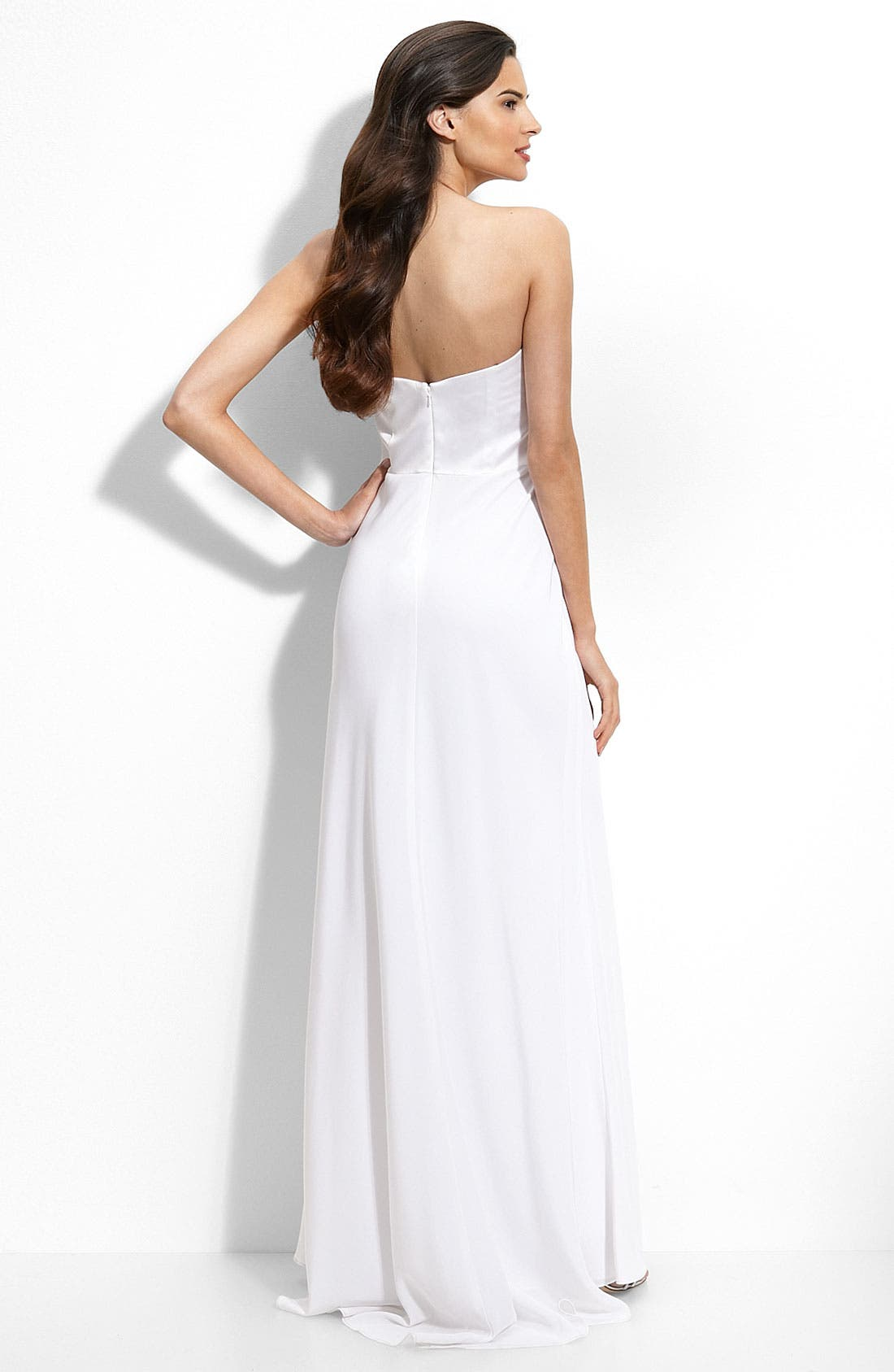 Alternate Image 2  - ABS by Allen Schwartz Ruffle Trim Satin Gown