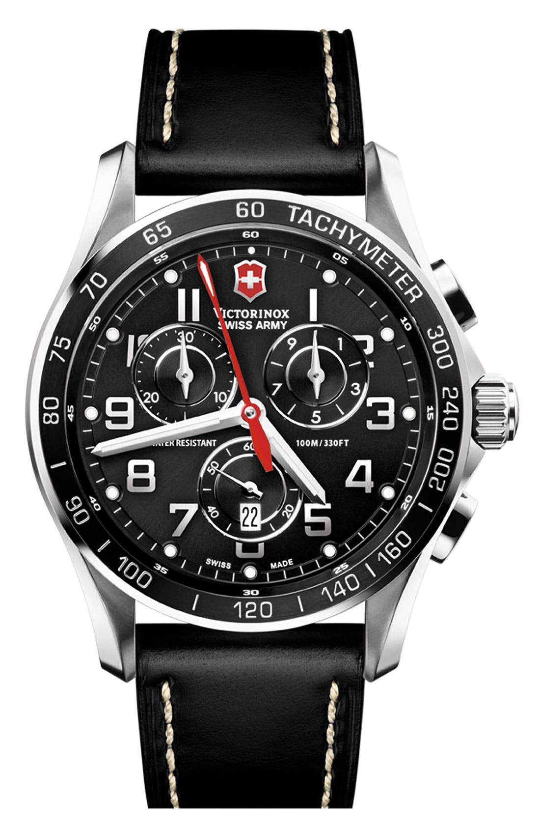 Main Image - Victorinox Swiss Army® 'Chrono Classic XLS' Leather Strap Watch, 45mm