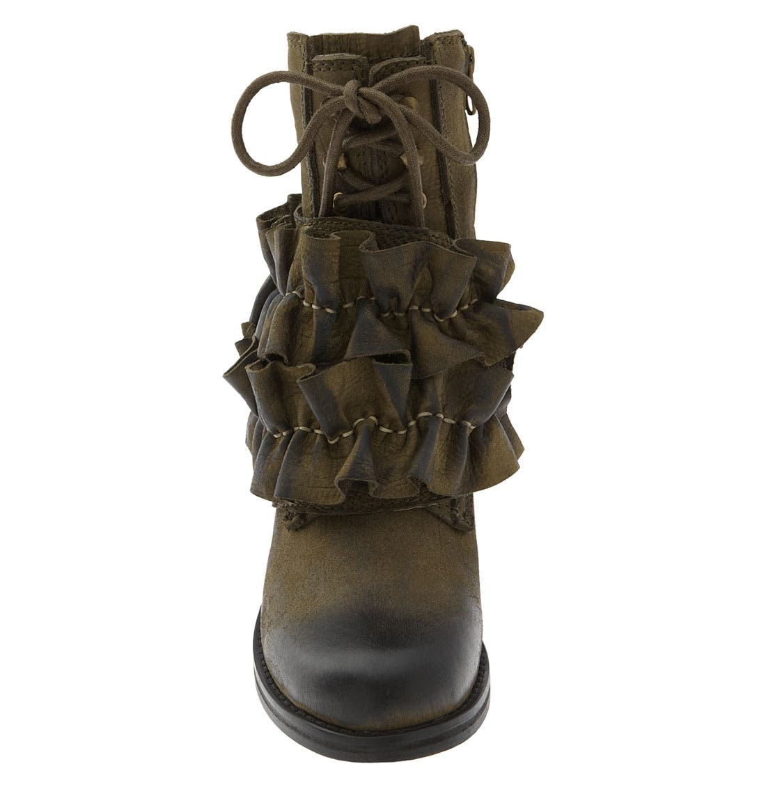 'All-Ruffle' Ankle Boot,                             Alternate thumbnail 3, color,                             Khaki