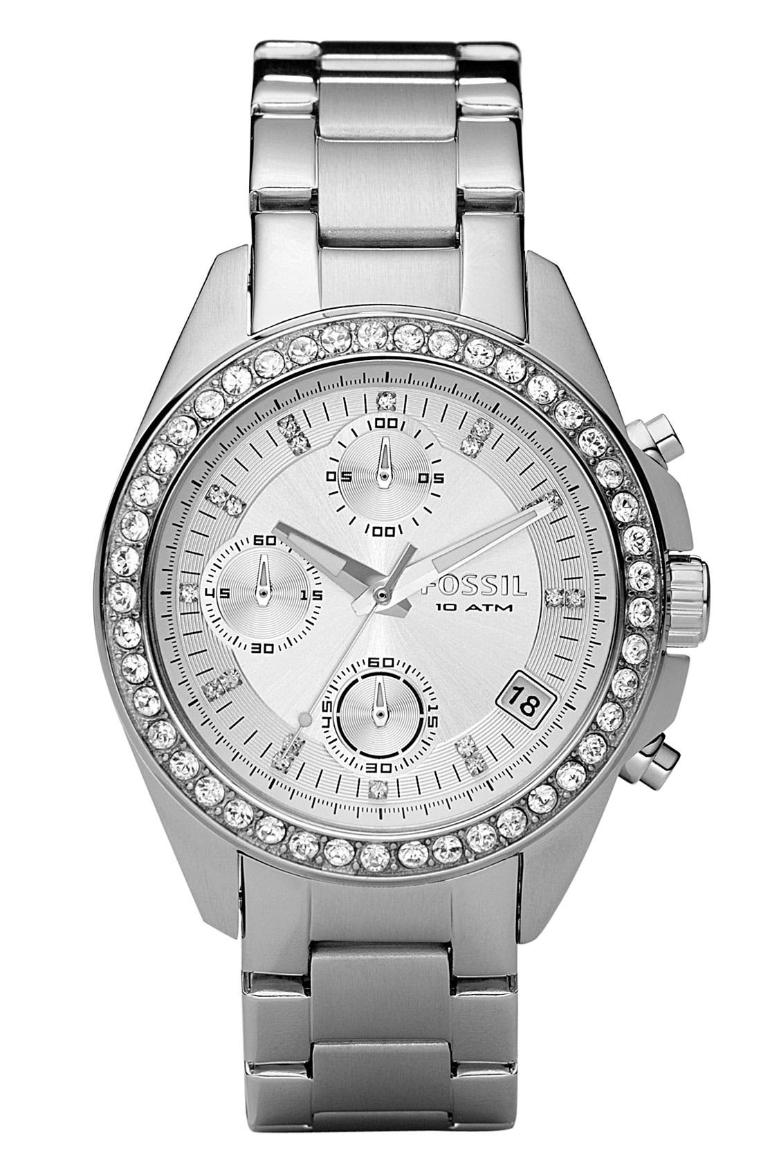Main Image - Fossil Crystal Topring Chronograph Watch