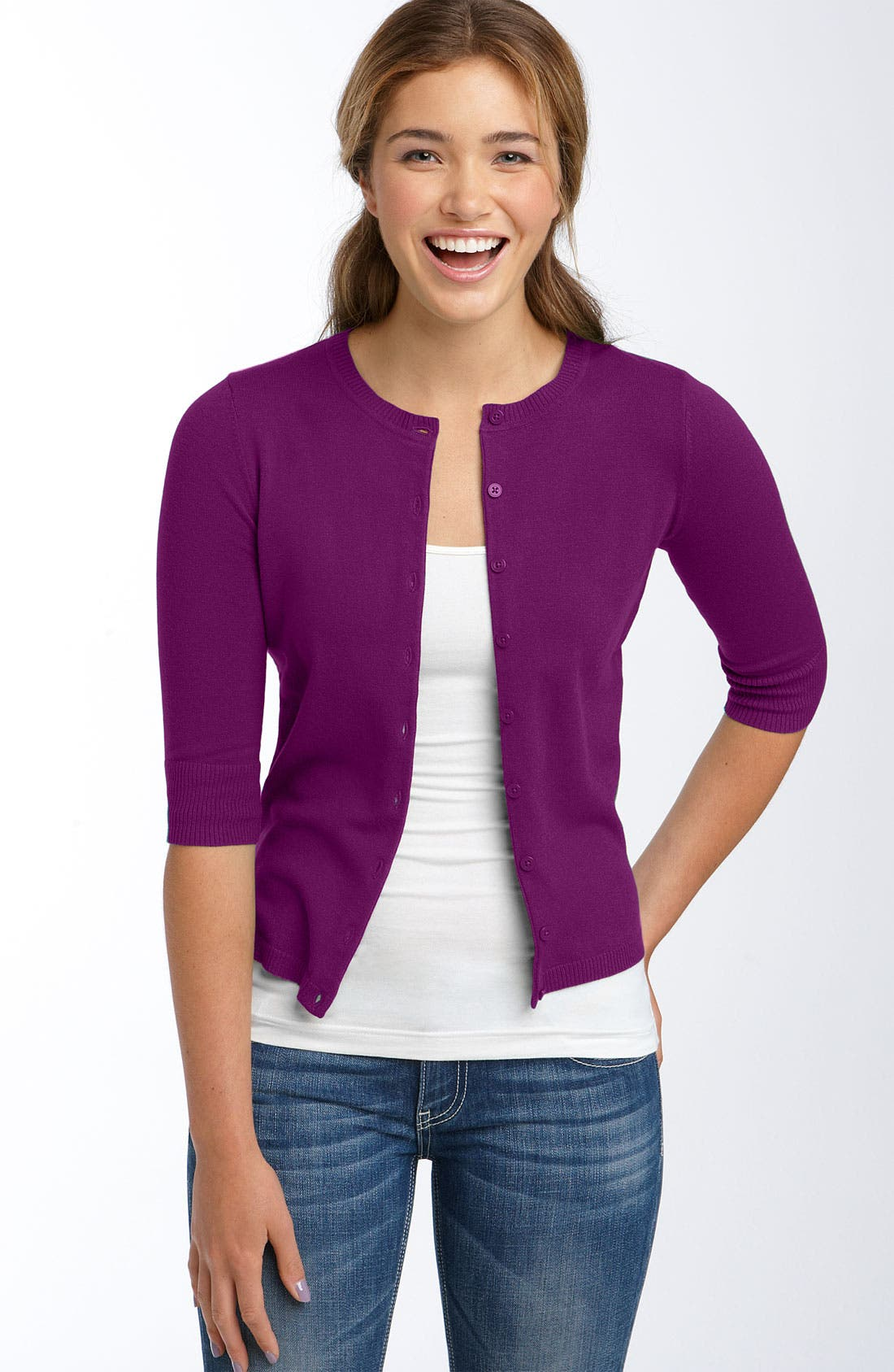 Three Quarter Sleeve Jersey Cardigan,                         Main,                         color, Majesty