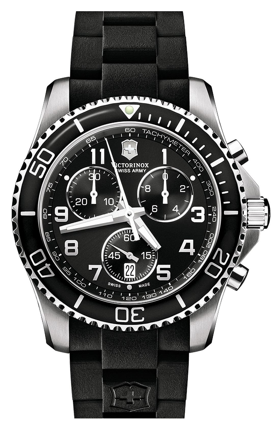 Alternate Image 1 Selected - Victorinox Swiss Army® 'Maverick GS' Rubber Strap Chronograph Watch, 43mm