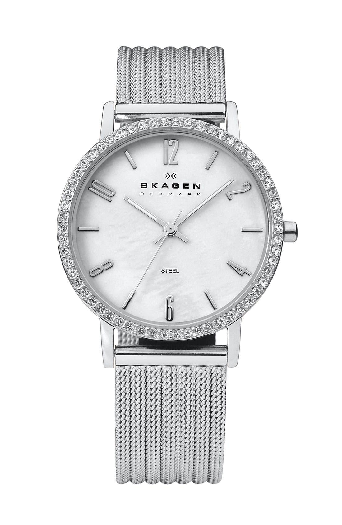 Main Image - Skagen Stripe Mesh Bracelet Watch, 32mm