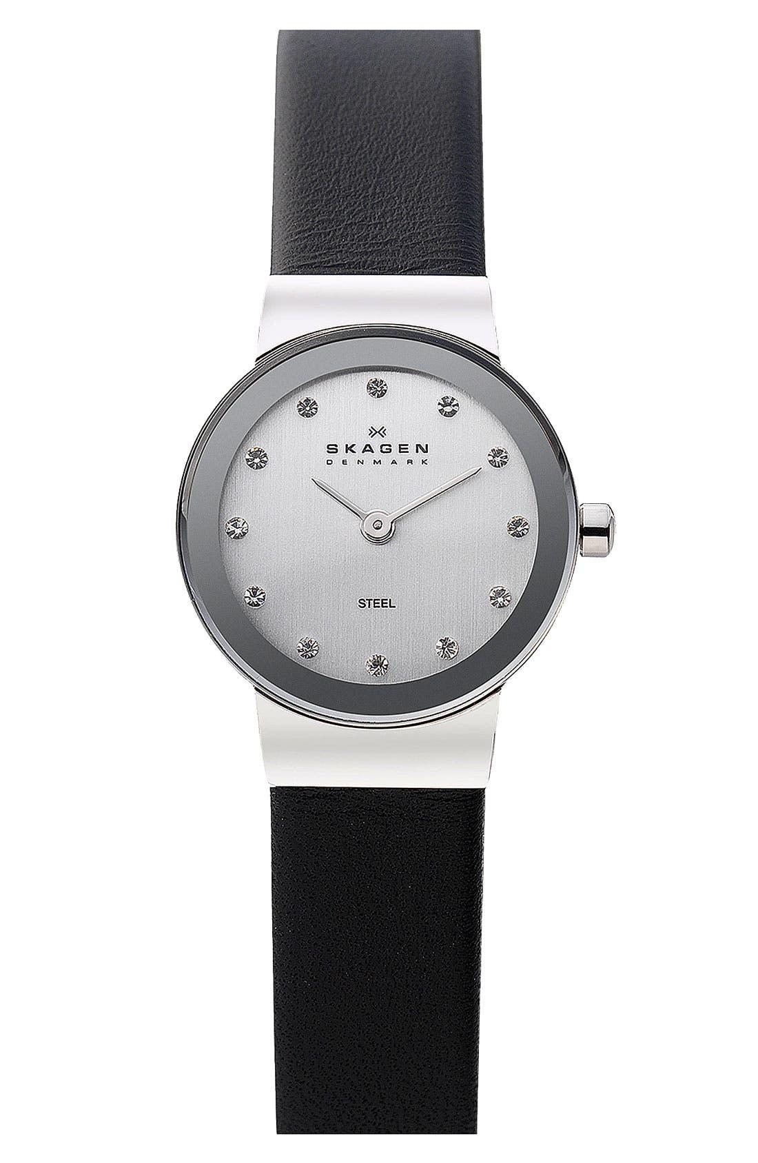 Main Image - Skagen 'Freja' Leather Strap Watch, 22mm