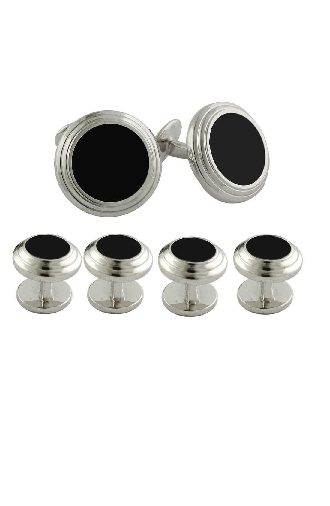 Alternate Image 1 Selected - David Donahue Sterling Silver Cuff Link & Stud Set