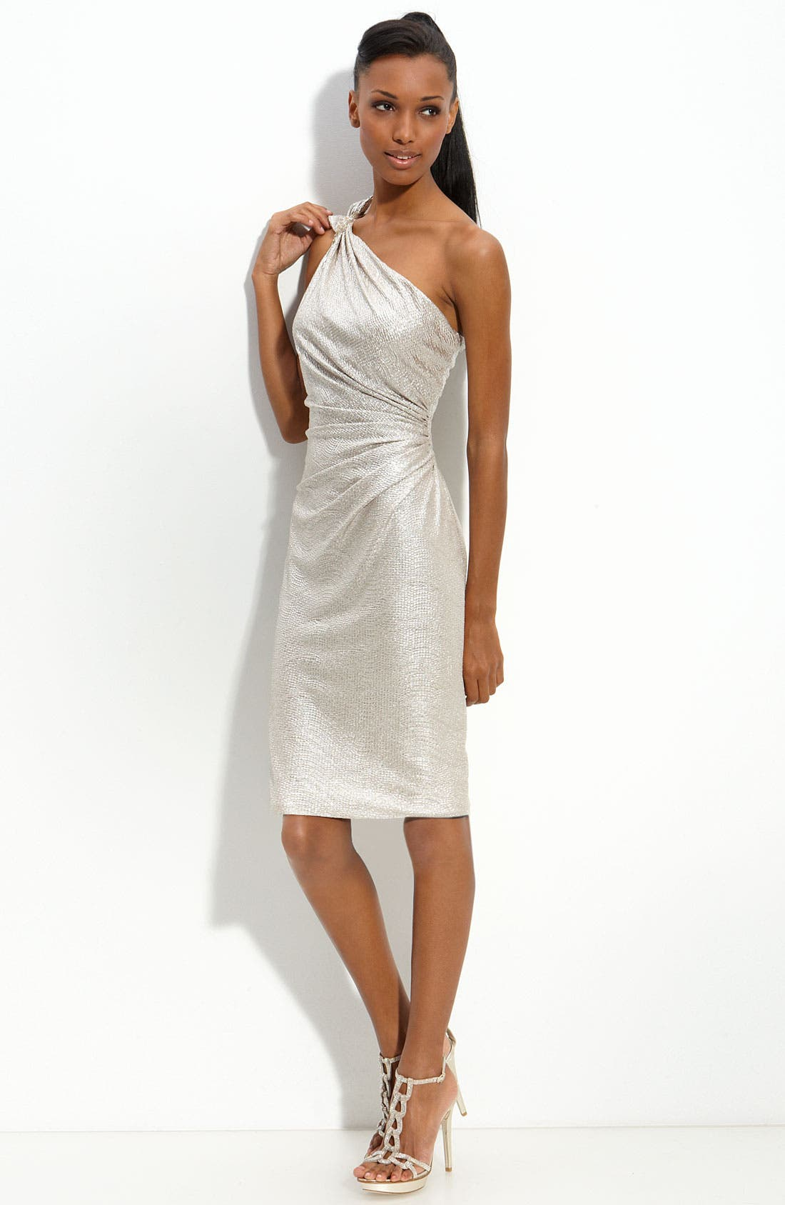 Main Image - David Meister One Shoulder Matelassé Sheath Dress