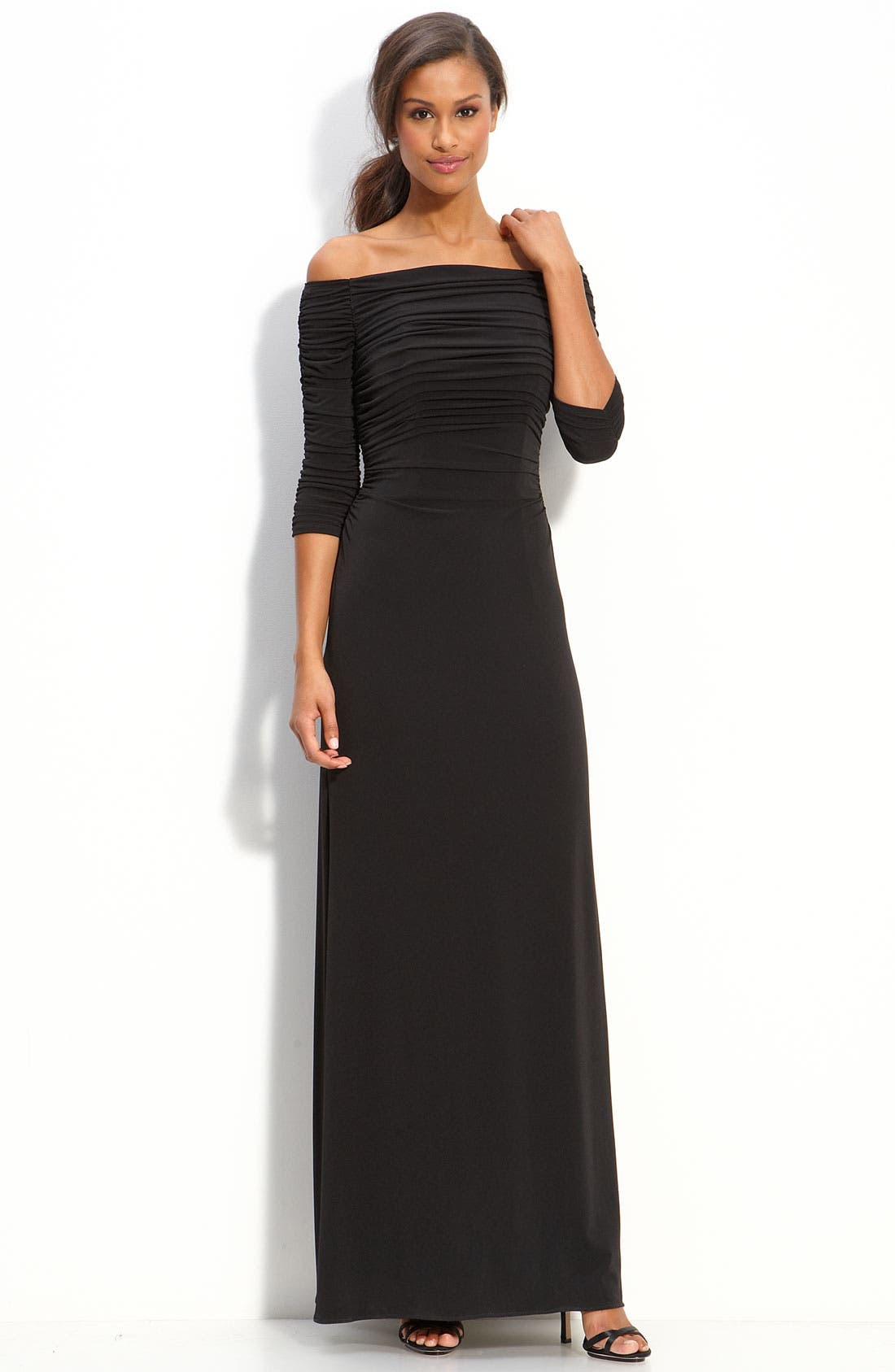 Alternate Image 1 Selected - Laundry by Shelli Segal Off Shoulder Jersey Gown