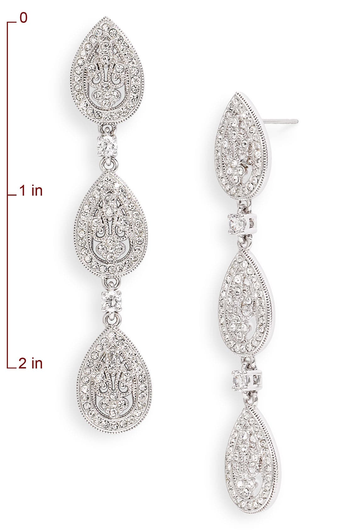 Alternate Image 2  - Nadri Crystal Teardrop Linear Earrings