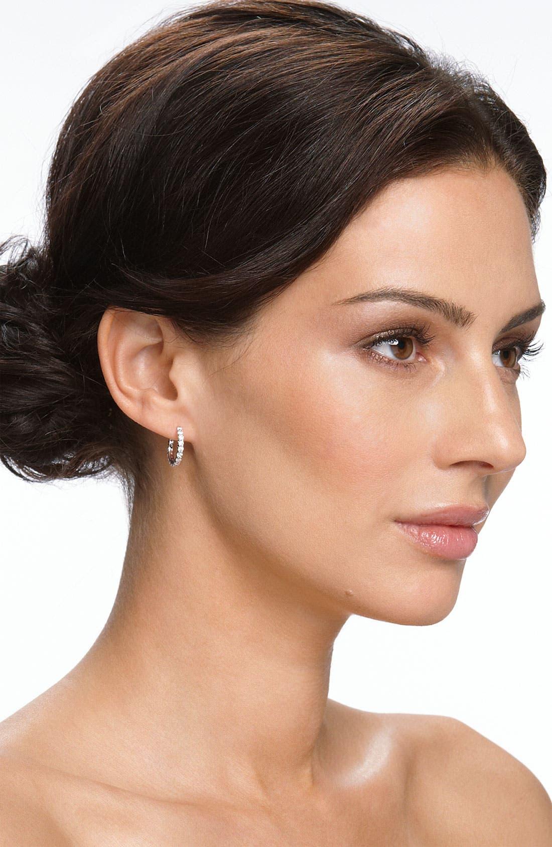 Alternate Image 2  - Nordstrom Cubic Zirconia Thin Hoop Earrings