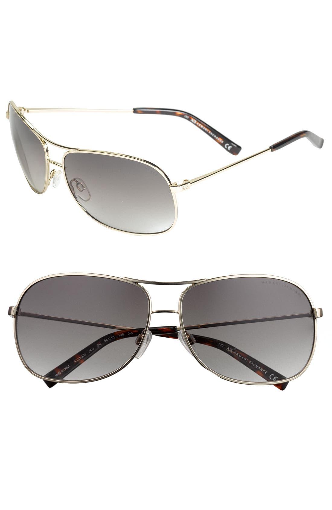 Main Image - AX Armani Exchange Metal Aviator Sunglasses
