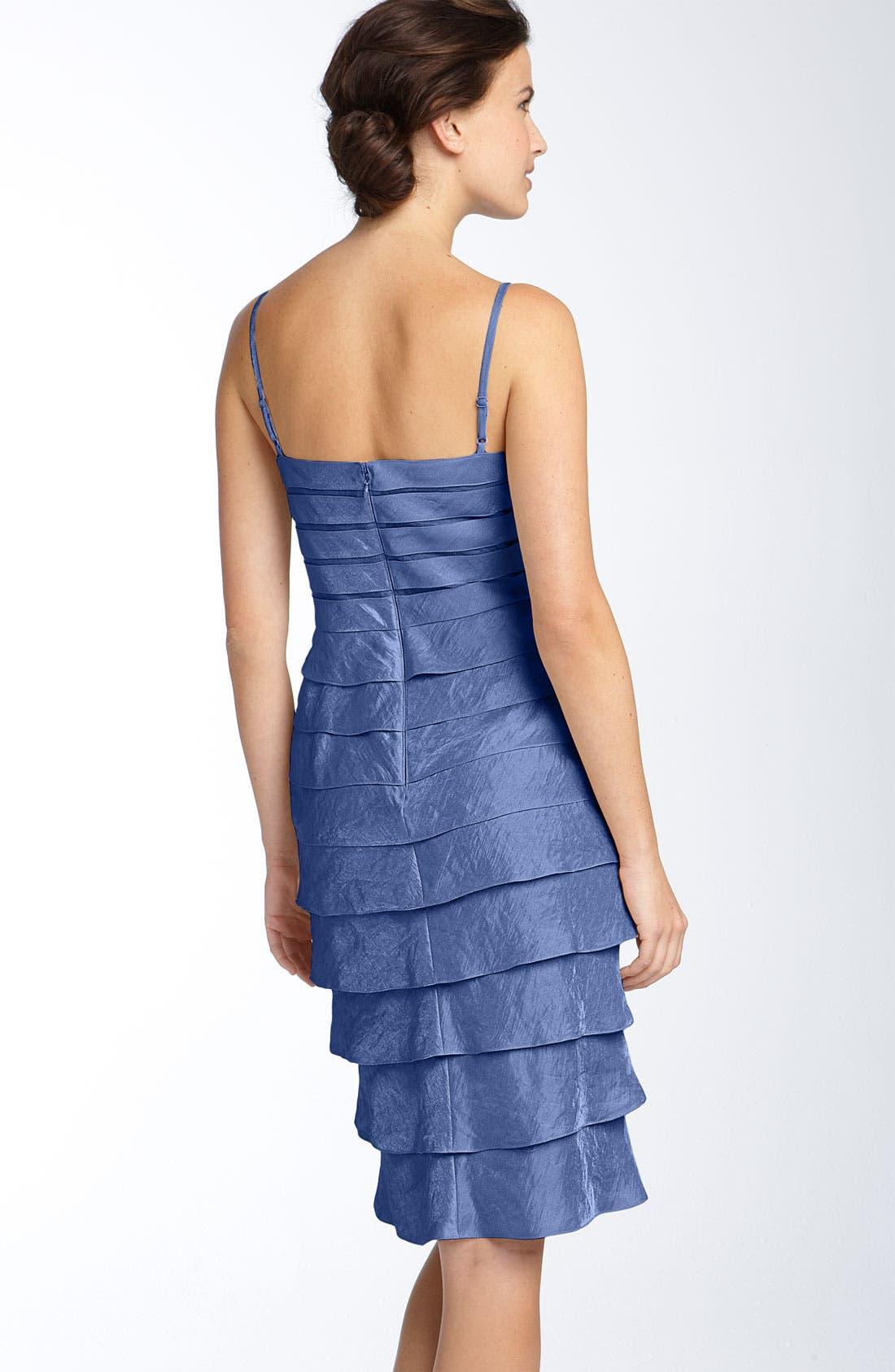 Alternate Image 3  - Adrianna Papell Tiered Hammered Satin Sheath Dress & Bolero (Regular & Petite)