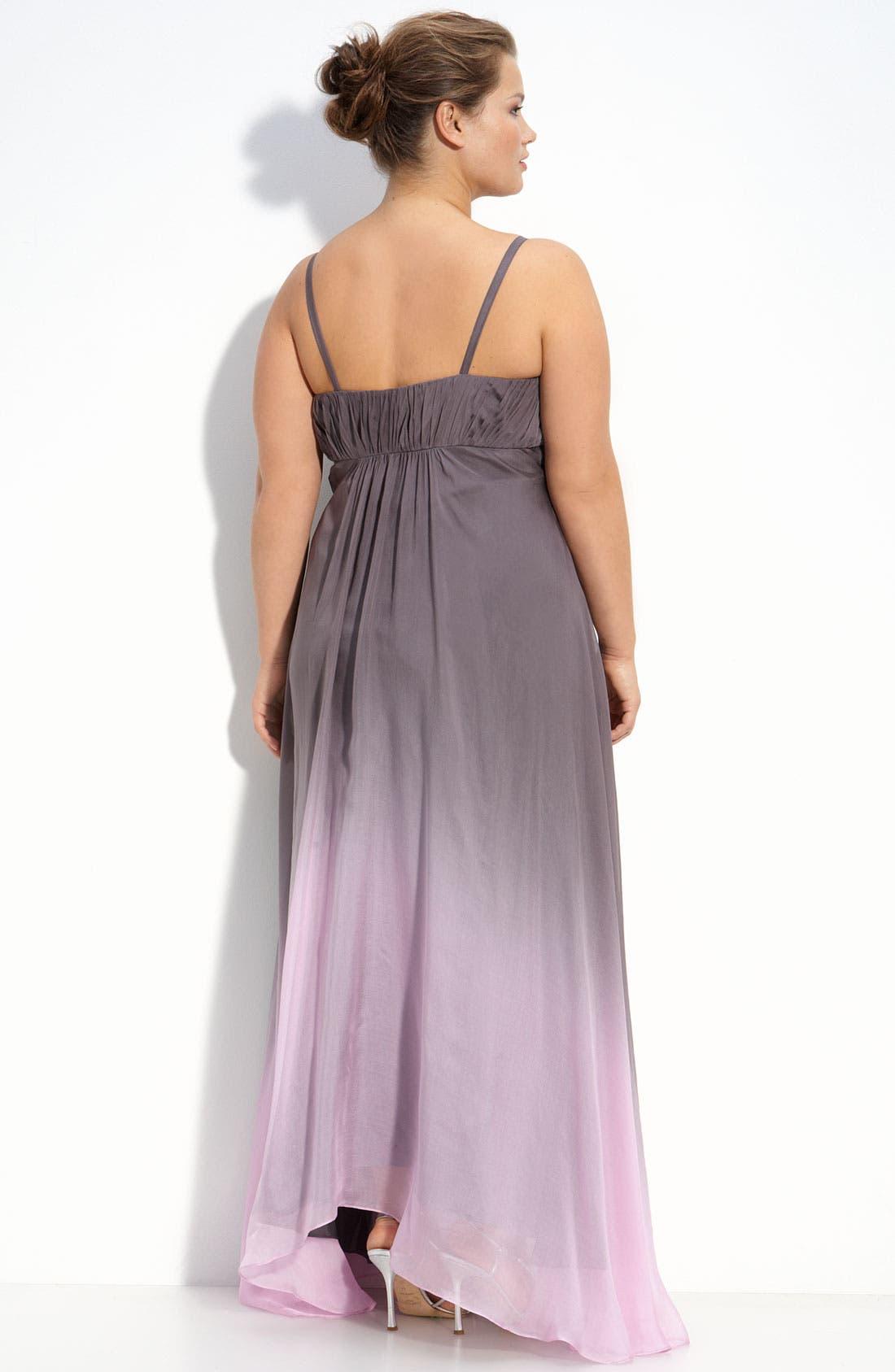 Alternate Image 2  - JS Collections Ombré Chiffon Gown (Plus)
