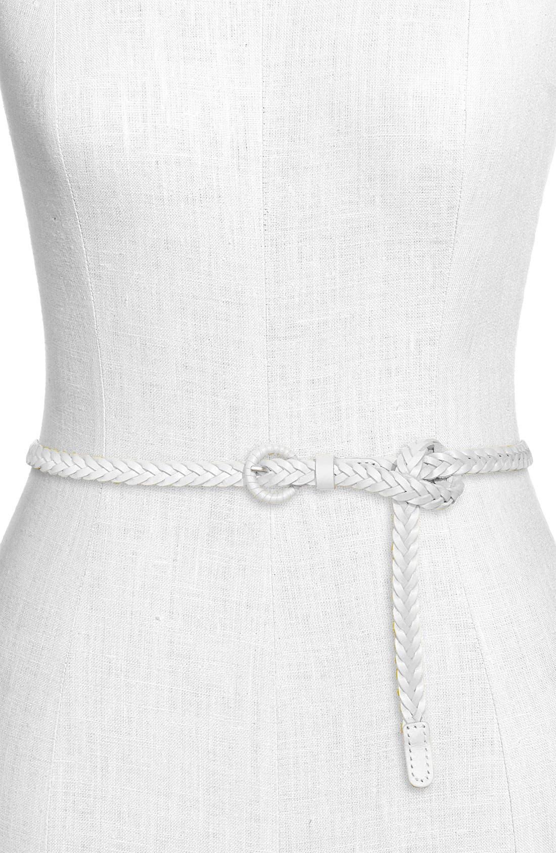 Alternate Image 1 Selected - Tarnish Skinny Braided Leather Belt