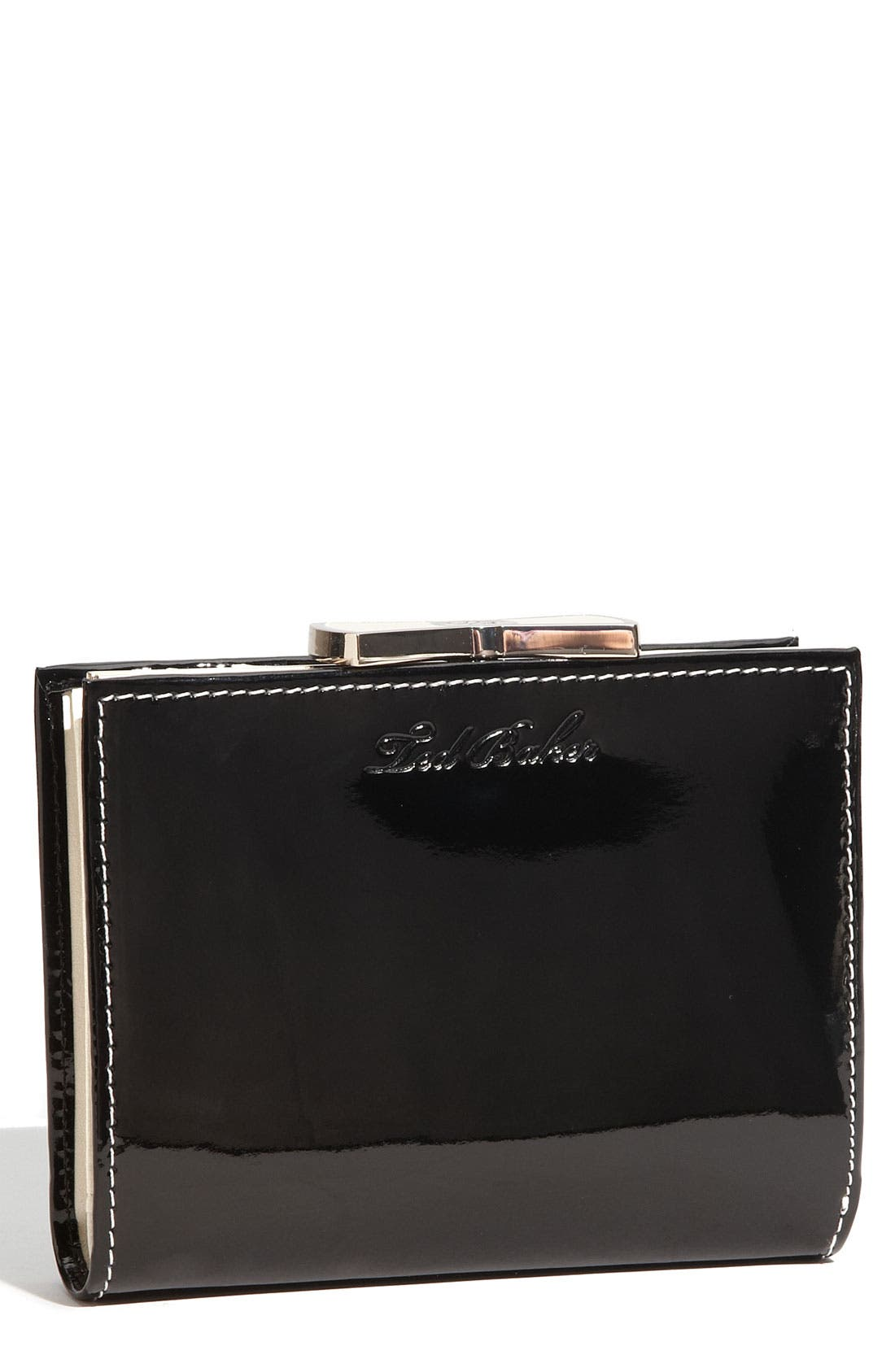 'Bow Clasp' French Wallet,                         Main,                         color, Black Patent